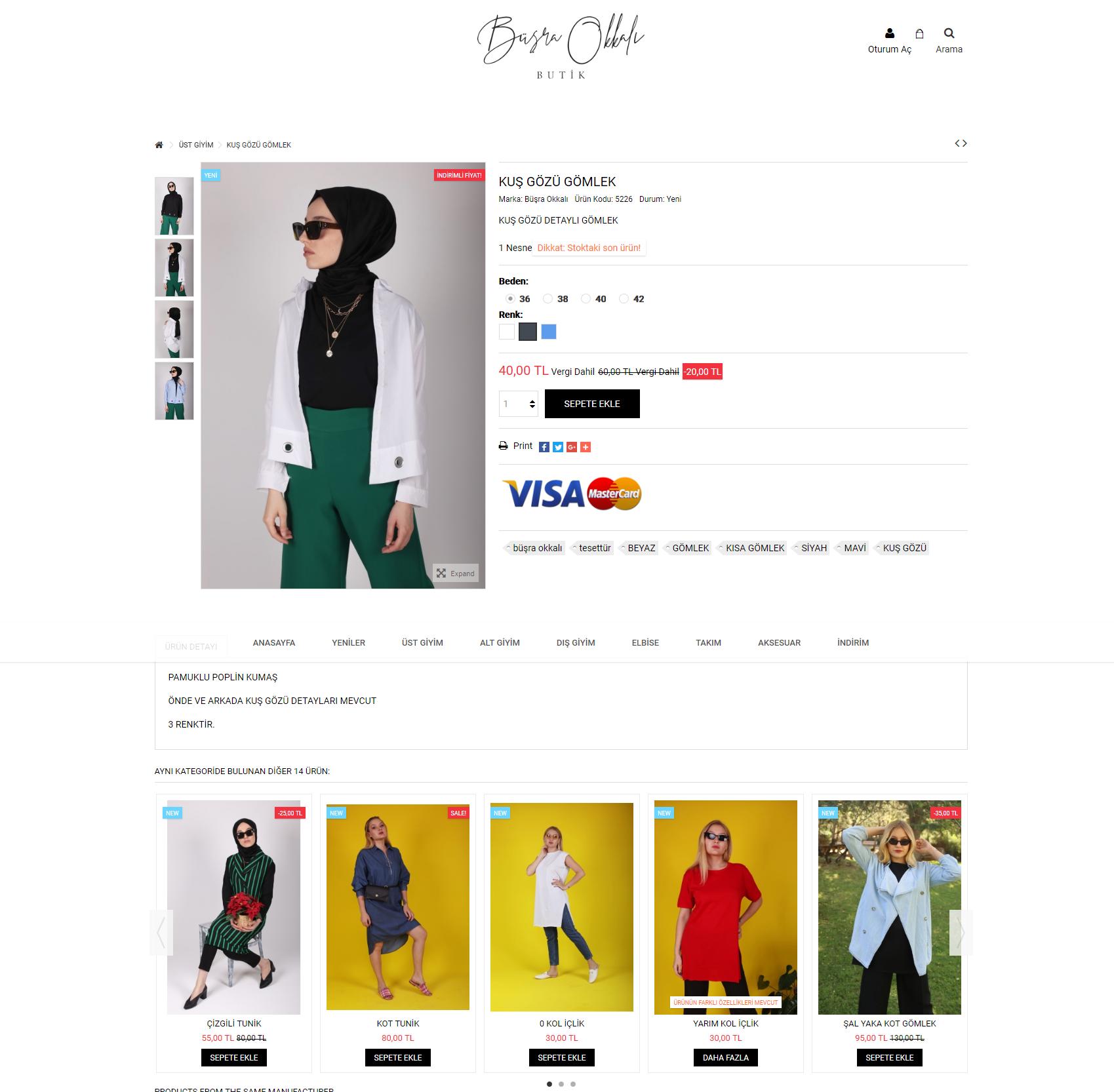 Büşra Okkalı E-Ticaret Sitesi Ürün Sayfası
